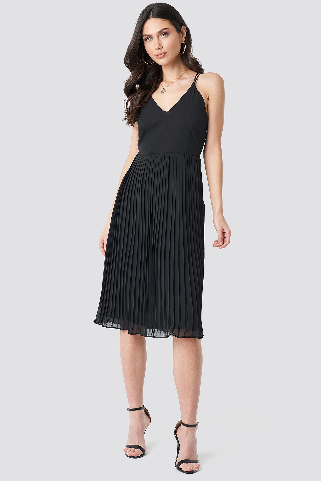 Cross Back Pleated Midi Dress NA-KD.COM