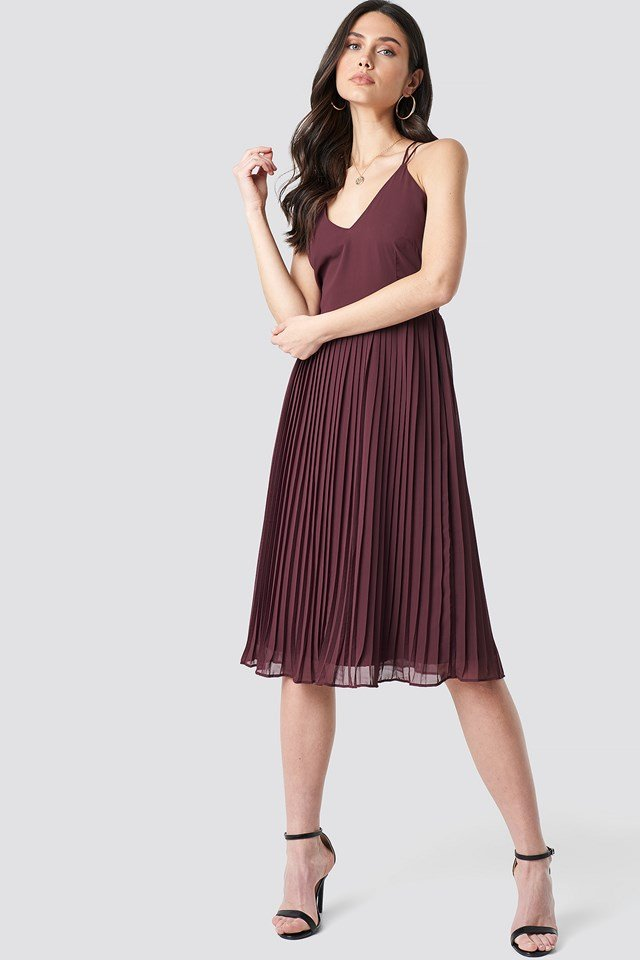 Cross Back Pleated Midi Dress Dark Burgundy