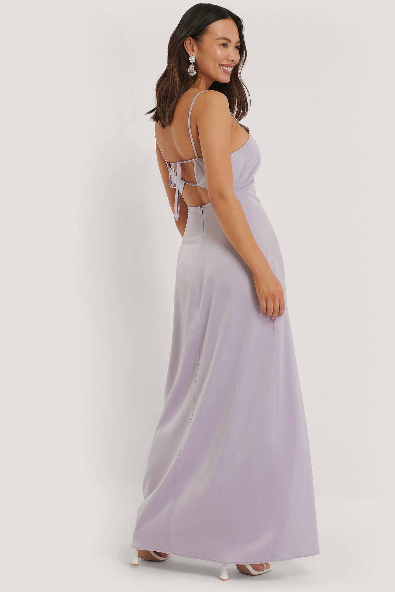 Purple Cross Back Satin Dress