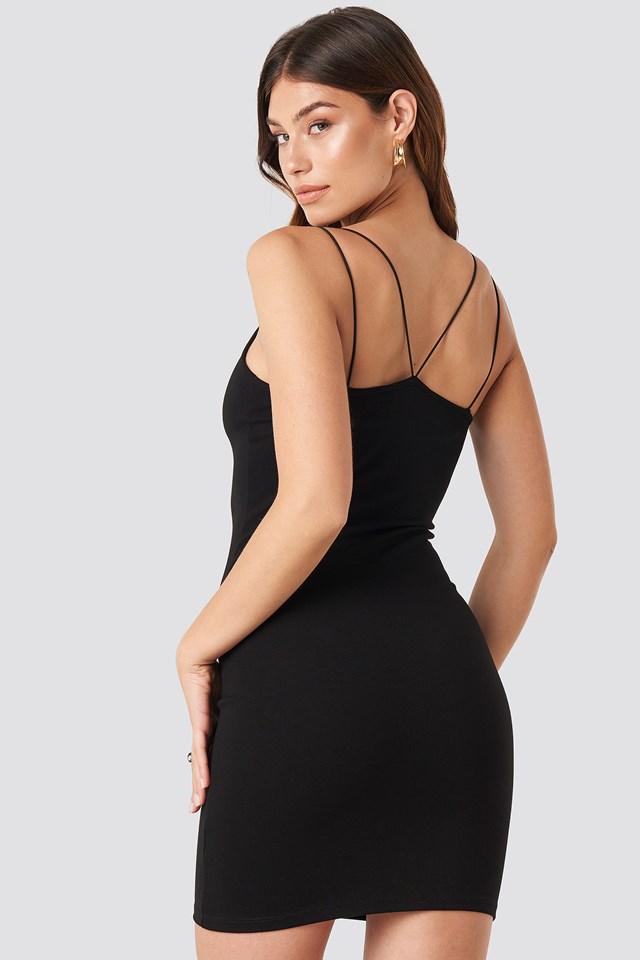 Cross Back Spaghetti Strap Dress Black