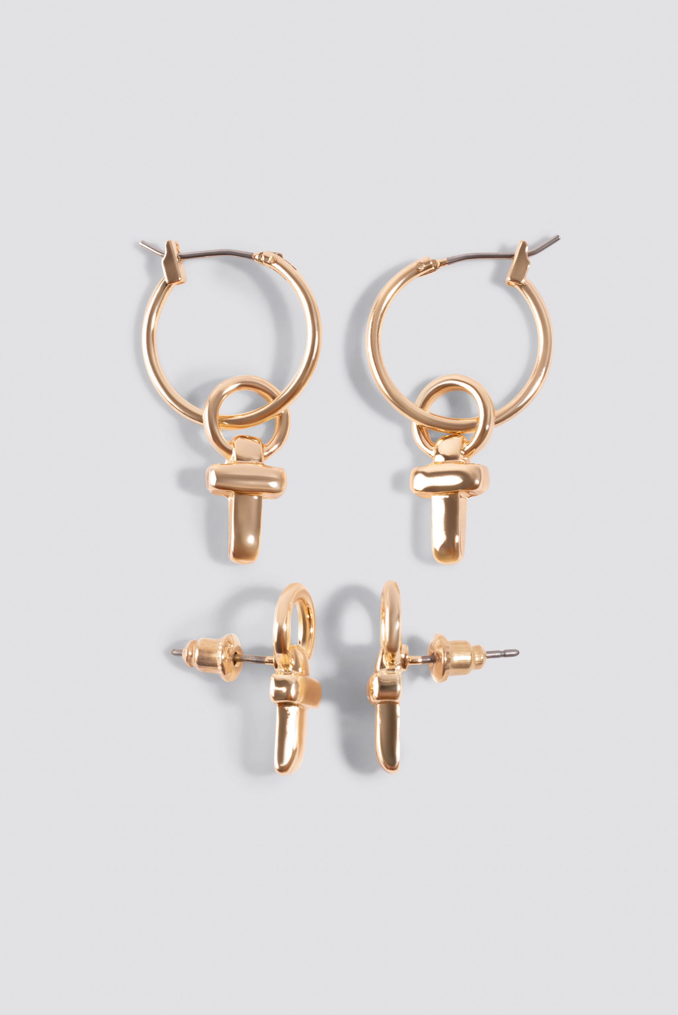 Cross Detail Mini Hoops (Double Pack) NA-KD.COM