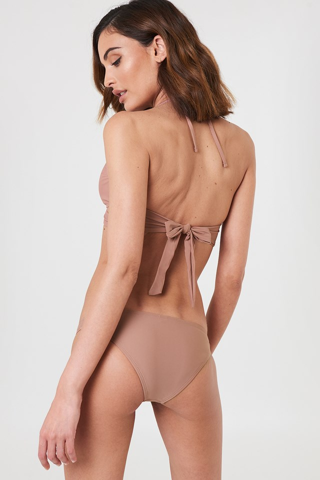 Cross Front Bikini Top Dusty Dark Pink