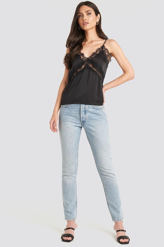 Cross Lace Singlet Black