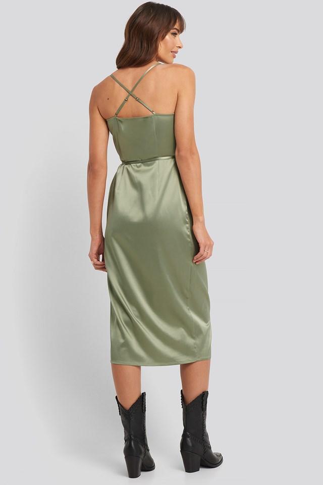 Cross Back Wrap Midi Dress Green