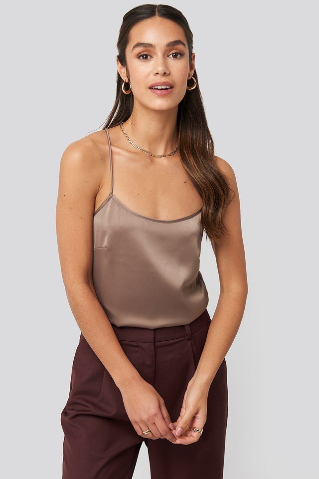 Crossed Back Satin Singlet Dusty Plum