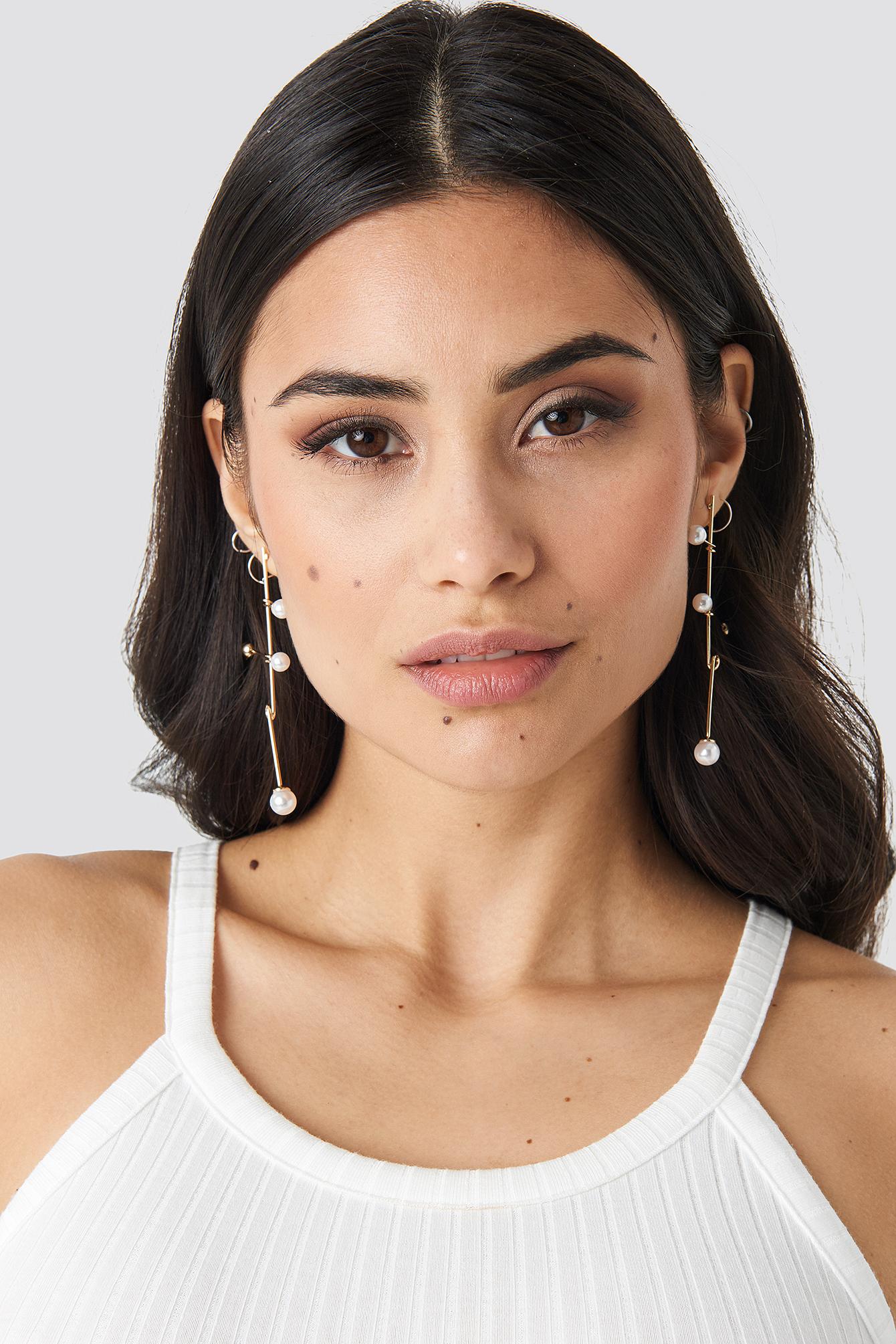 Crossed Bars Pearl Earrings NA-KD.COM