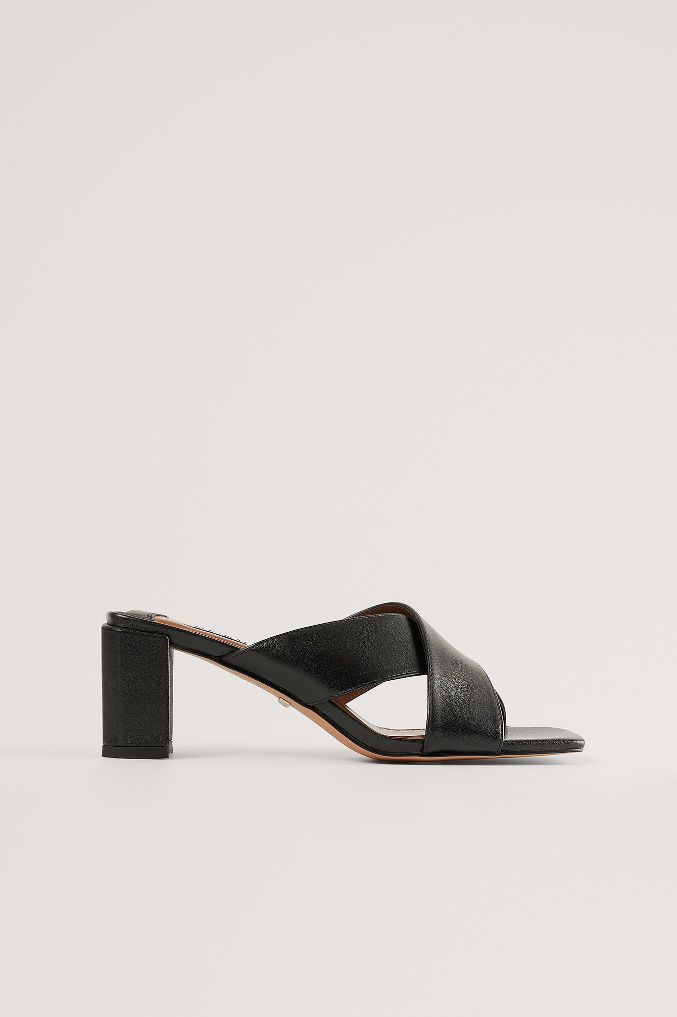 Black Crossed Leather Mules