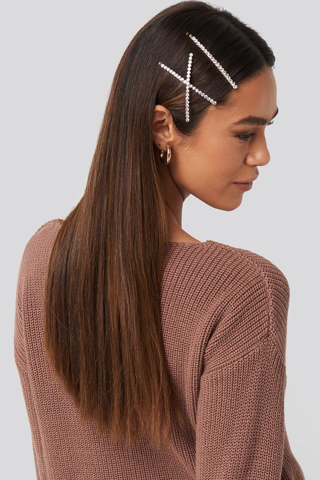 Crossed Rhinestone Hairclips (Double Pack) Gold