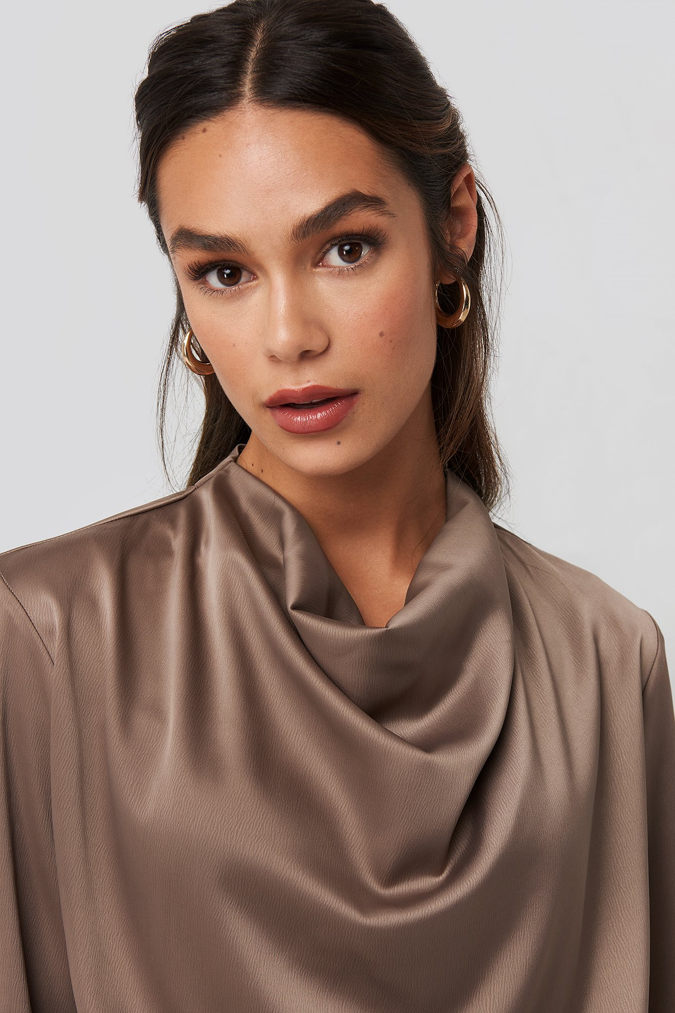 Cowl Neck Satin Blouse Marron by Na Kd Trend