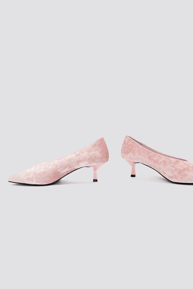 Crushed Velvet Kitten Heel Light Pink
