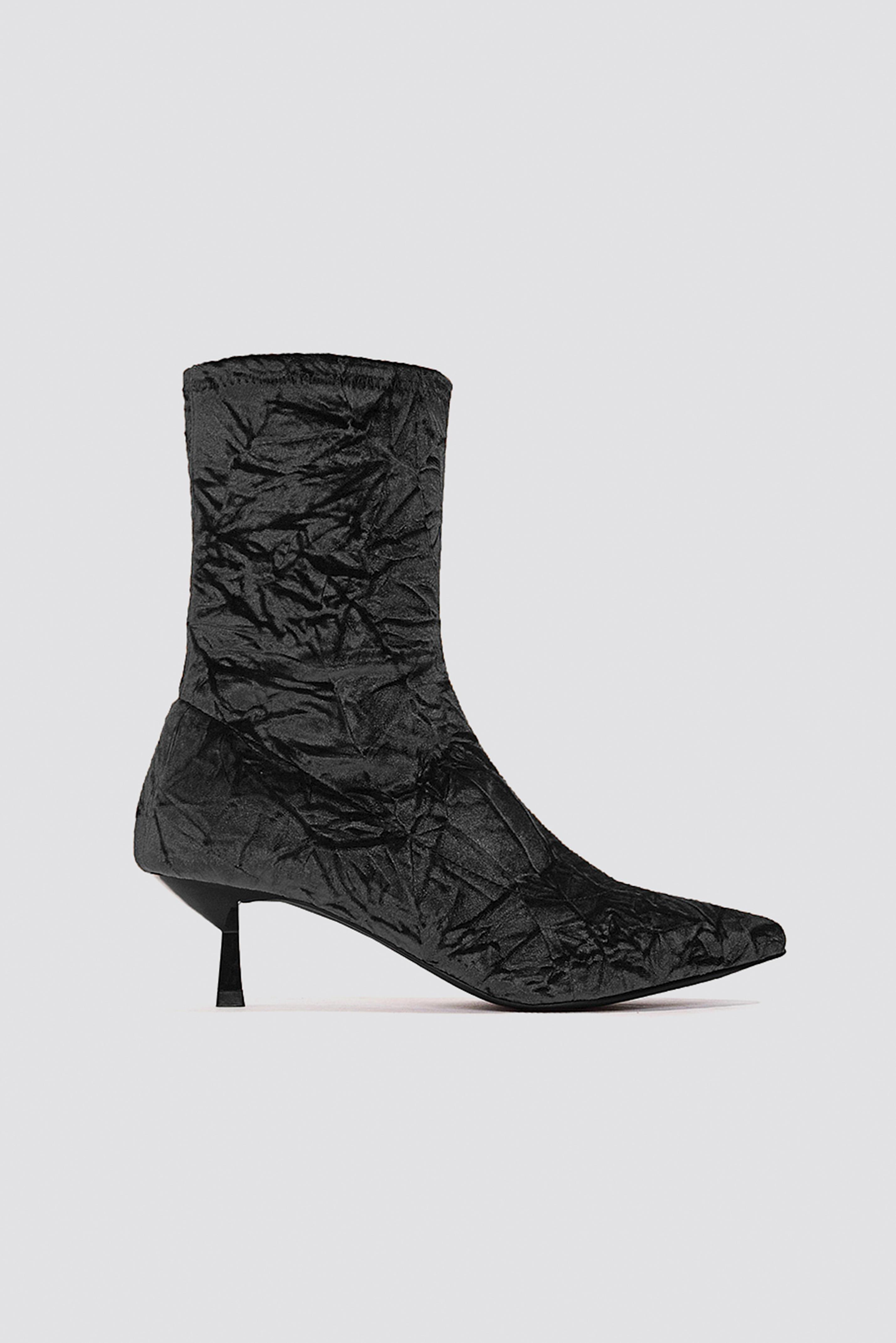 NA-KD Shoes Crushed Velvet Sock Boot - Black