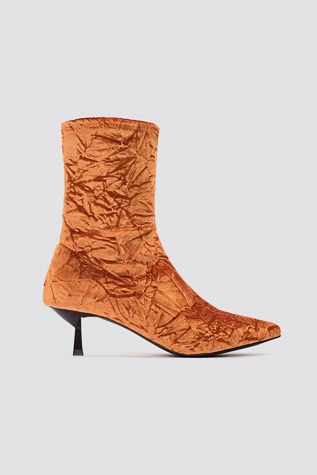 Crushed Velvet Sock Boot Orange