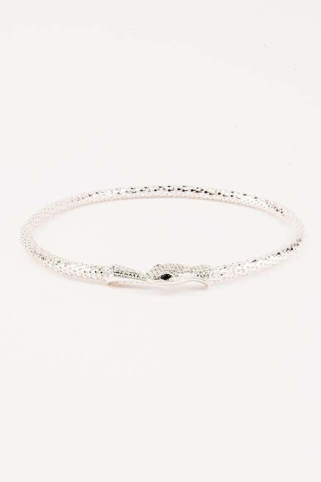 Crystal Snake Necklace Silver