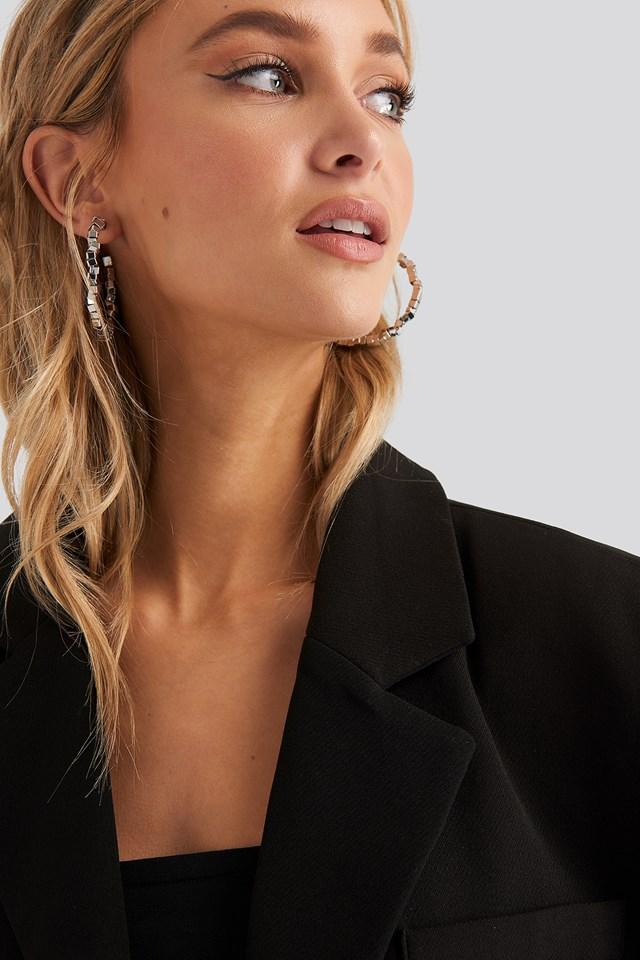 Cube Beaded Hoop Earrings Silver
