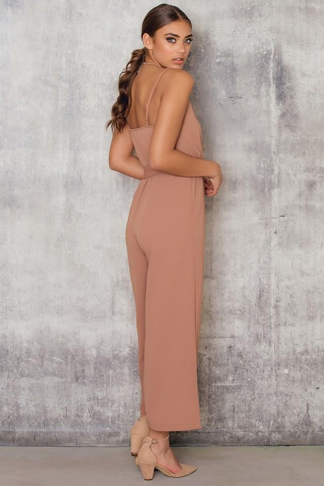 Culotte Belted Jumpsuit Dusty Dark Pink