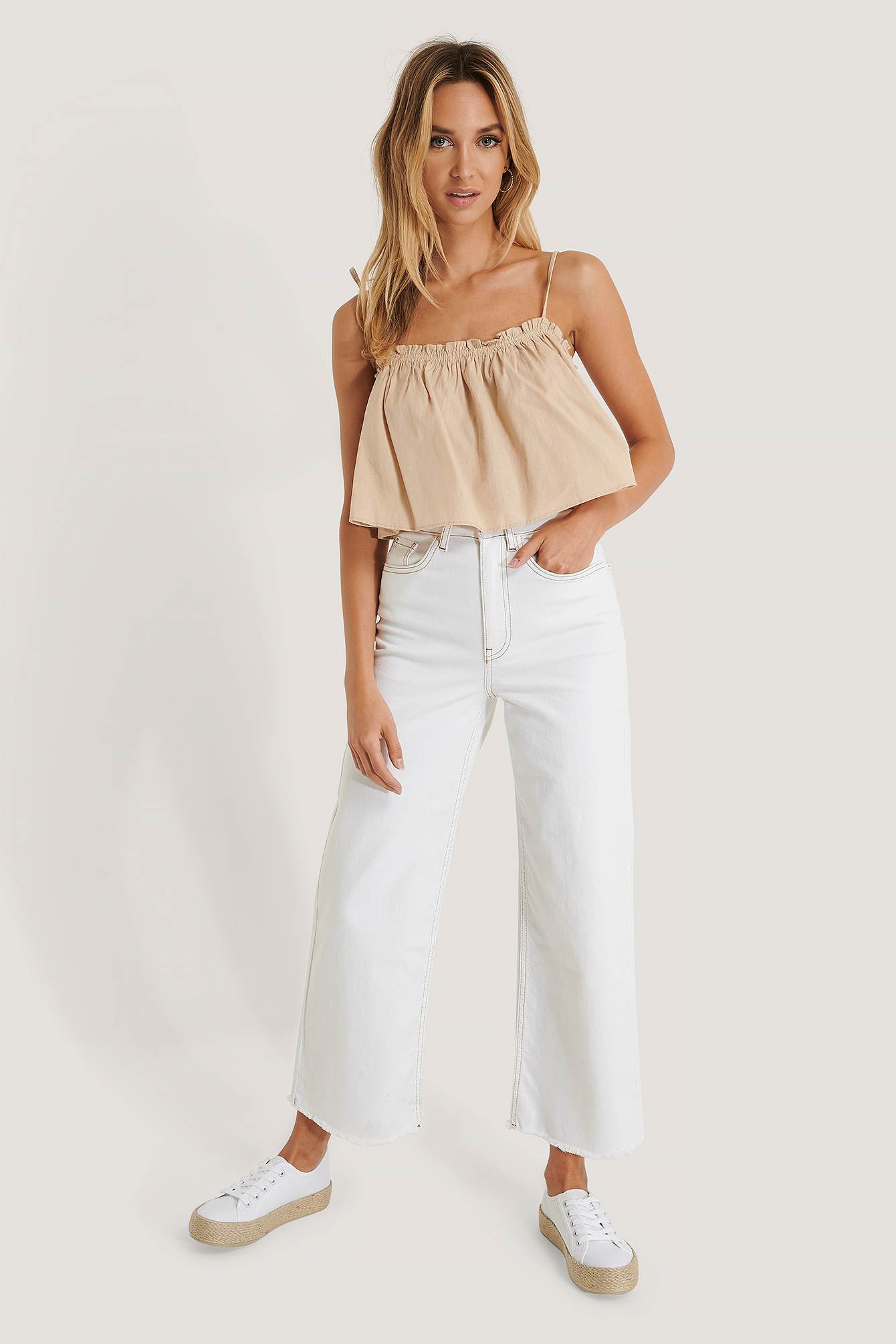 na-kd -  Culotte-Jeans - White