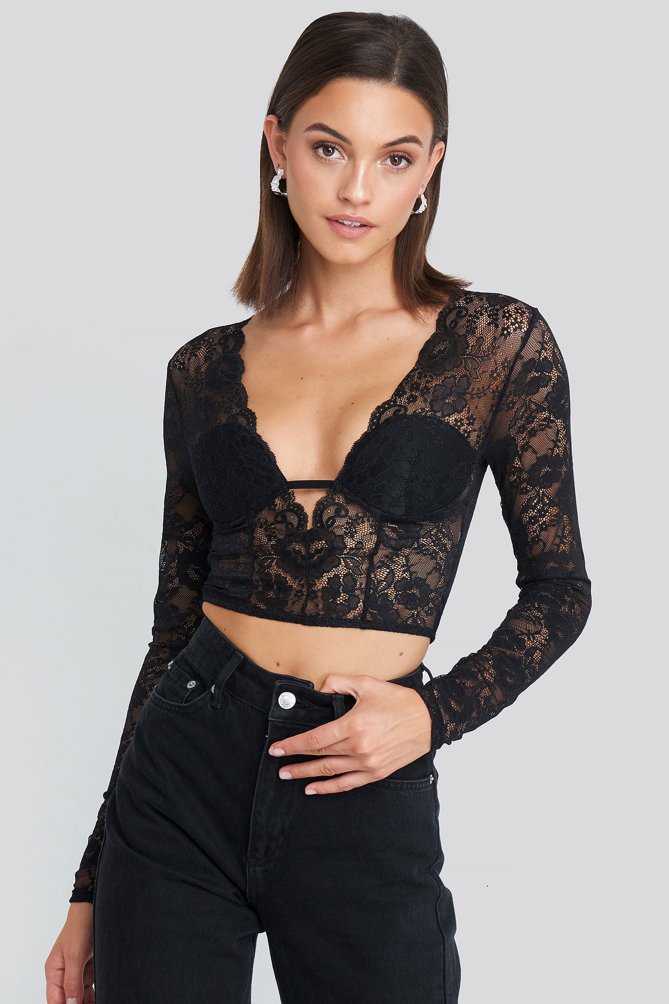 na-kd party -  Cup Detail Lace Top - Black