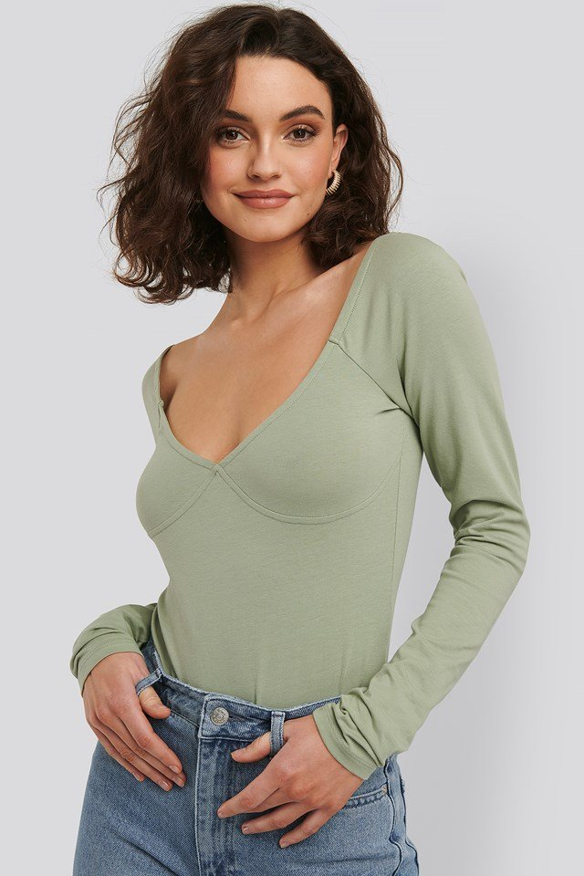 Cup Detail Long Sleeve Body Green