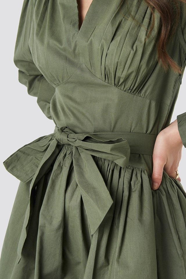 Cup Detail Tie Waist Dress Khaki Green