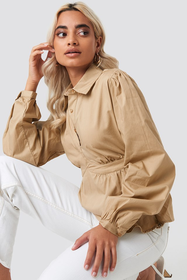 Cup Detailed Cropped Shirt Light Beige
