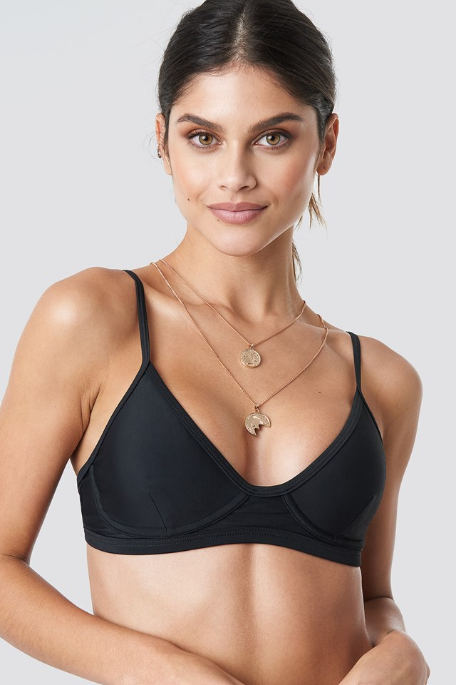 Cup Shape Bikini Top Black