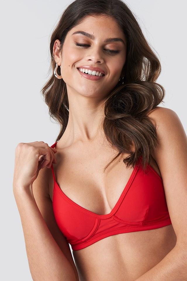 Cup Shape Bikini Top Red