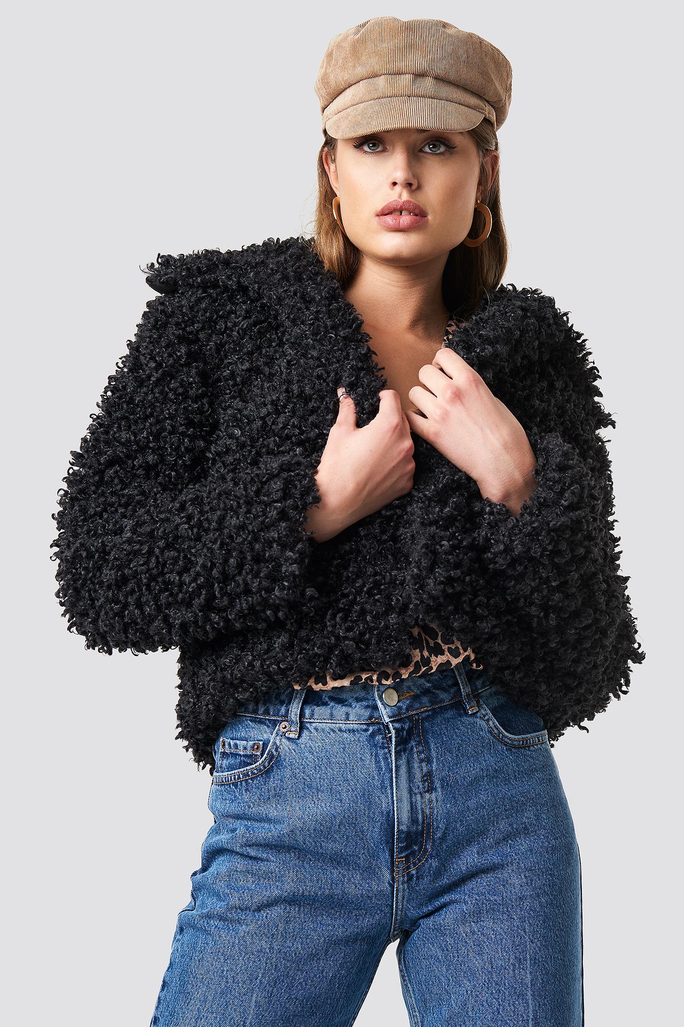 na-kd -  Curly Faux Fur Jacket - Black
