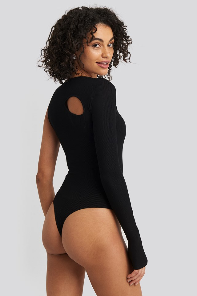 Cut Out Asymmetric Bodysuit Black