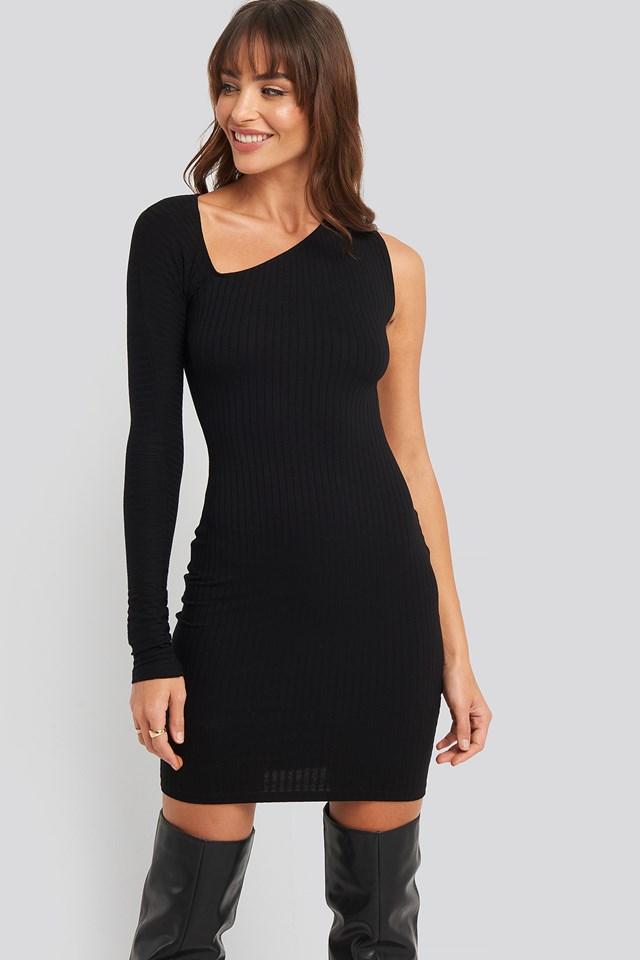 Cut Out Asymmetric Mini Dress Black