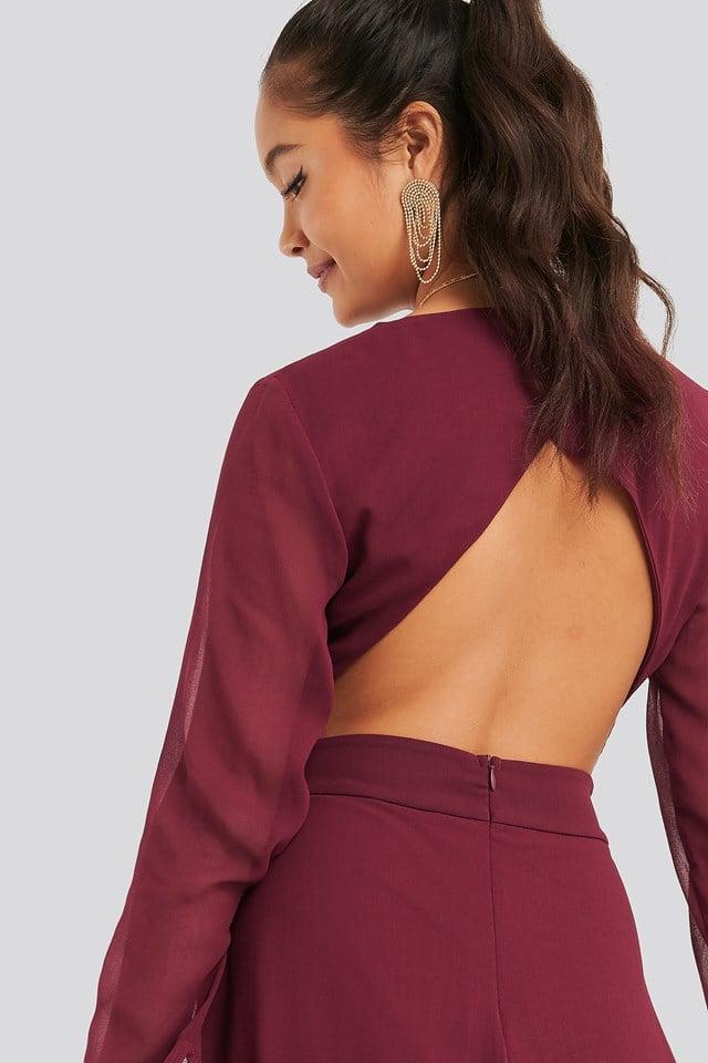Cut Out Back Chiffon Mini Dress Burgundy