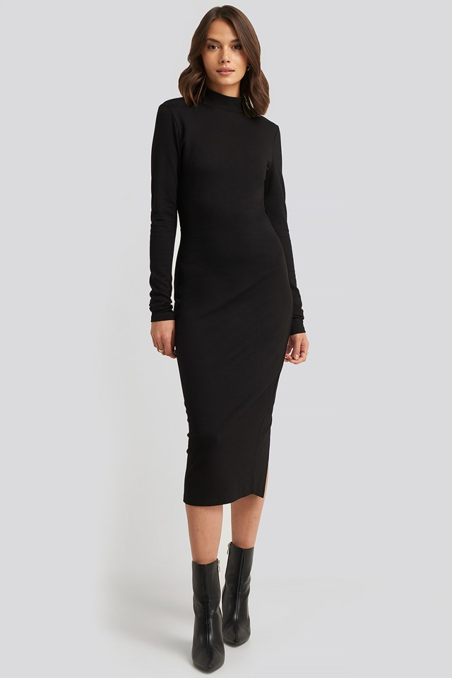 Cut Out Back Long Sleeve Midi Dress Black
