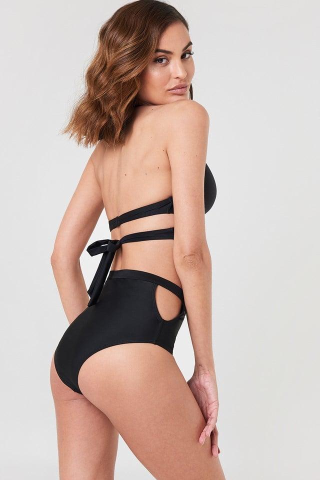 Cut Out Bikini Top Black