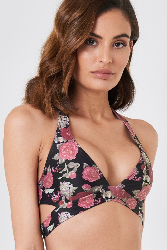 Cut Out Bikini Top Black/Flower Print