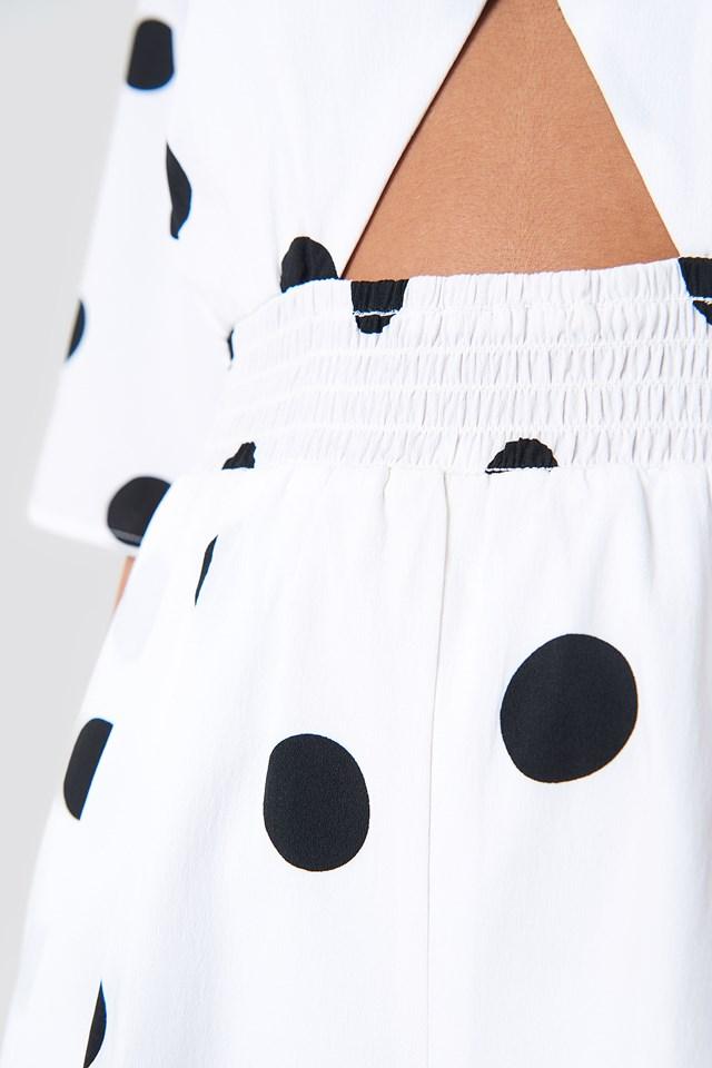 Cut Out Detail Playsuit White/Black Dot