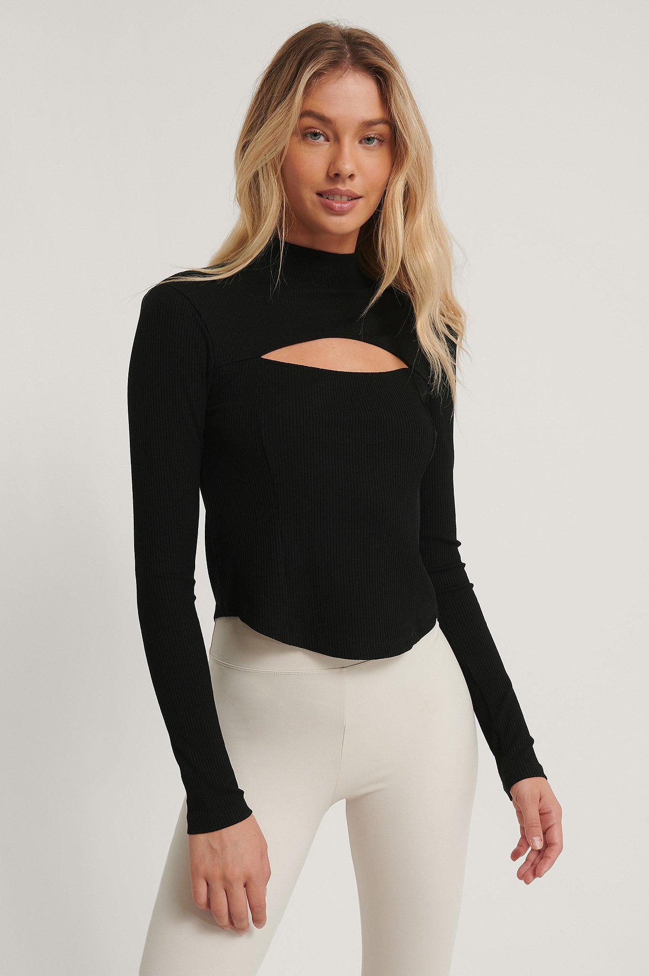 Black Cut Out Chest Detail Top