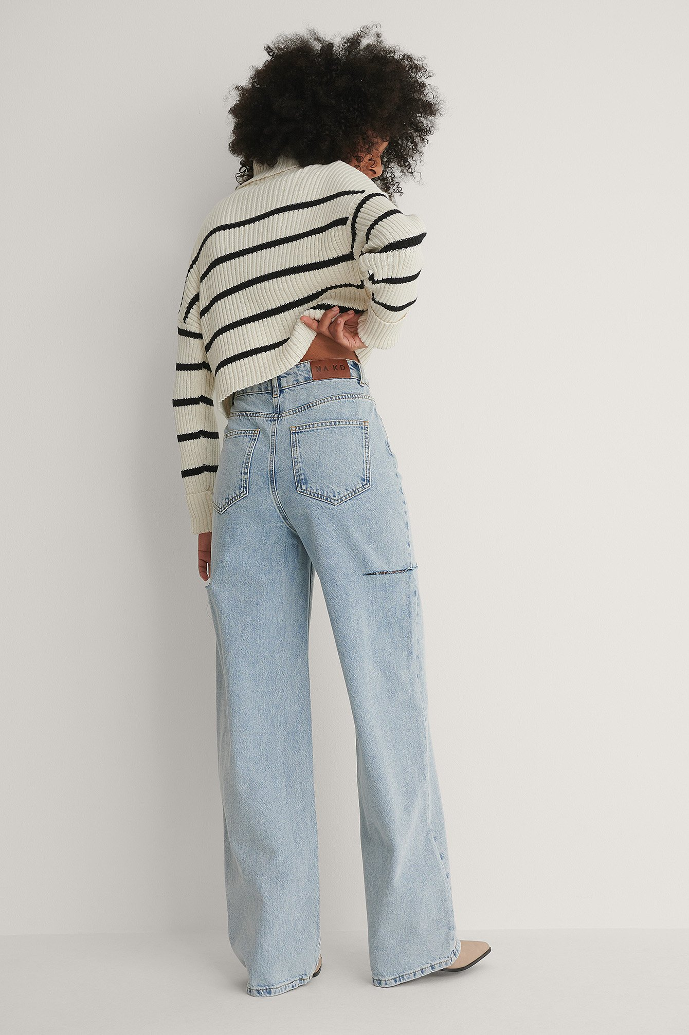 Vintage Blue Organic Cut Out Detail Wide Jeans