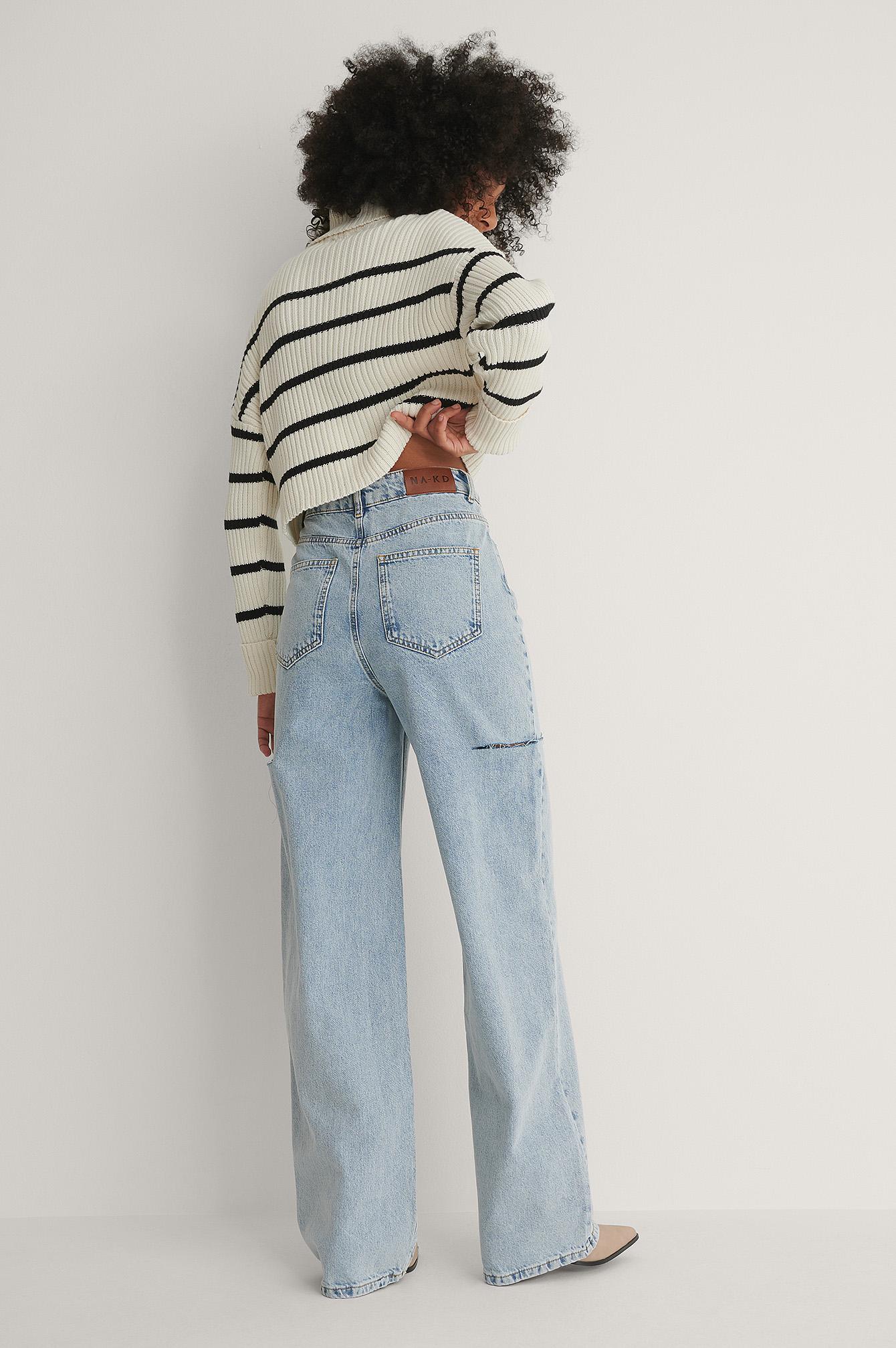 NA-KD Trend Økologiske Brede Jeans Med Cut Out Detalje - Blue