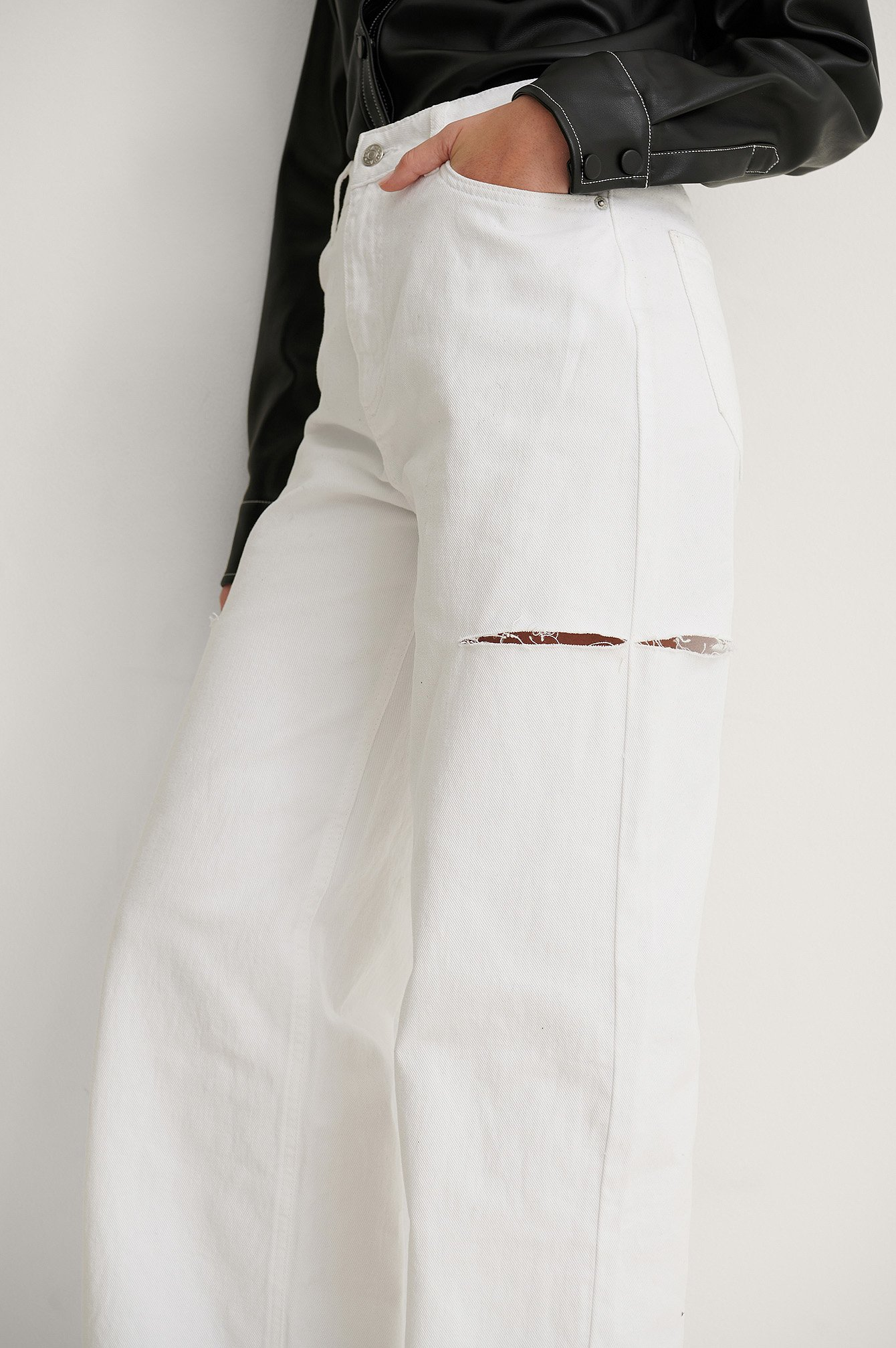 White Organic Cut Out Detail Wide Jeans