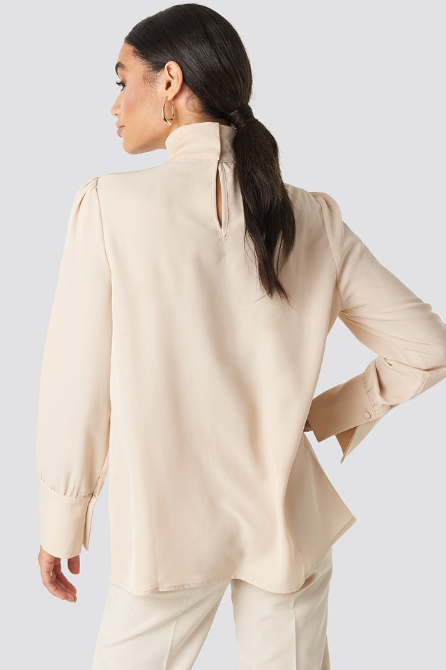 Cut Out Front Blouse Sand