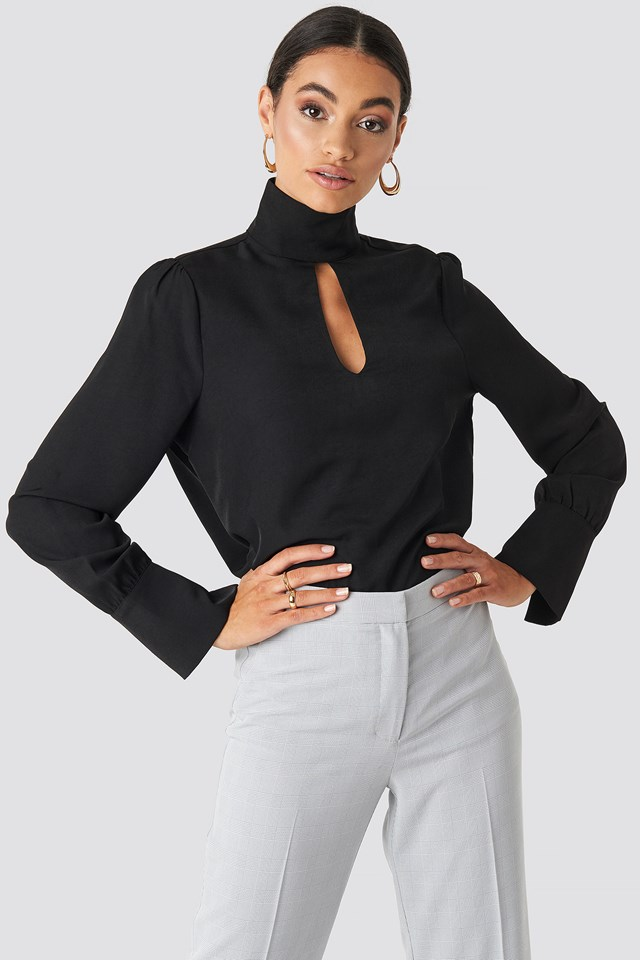 Cut Out Front Blouse Black
