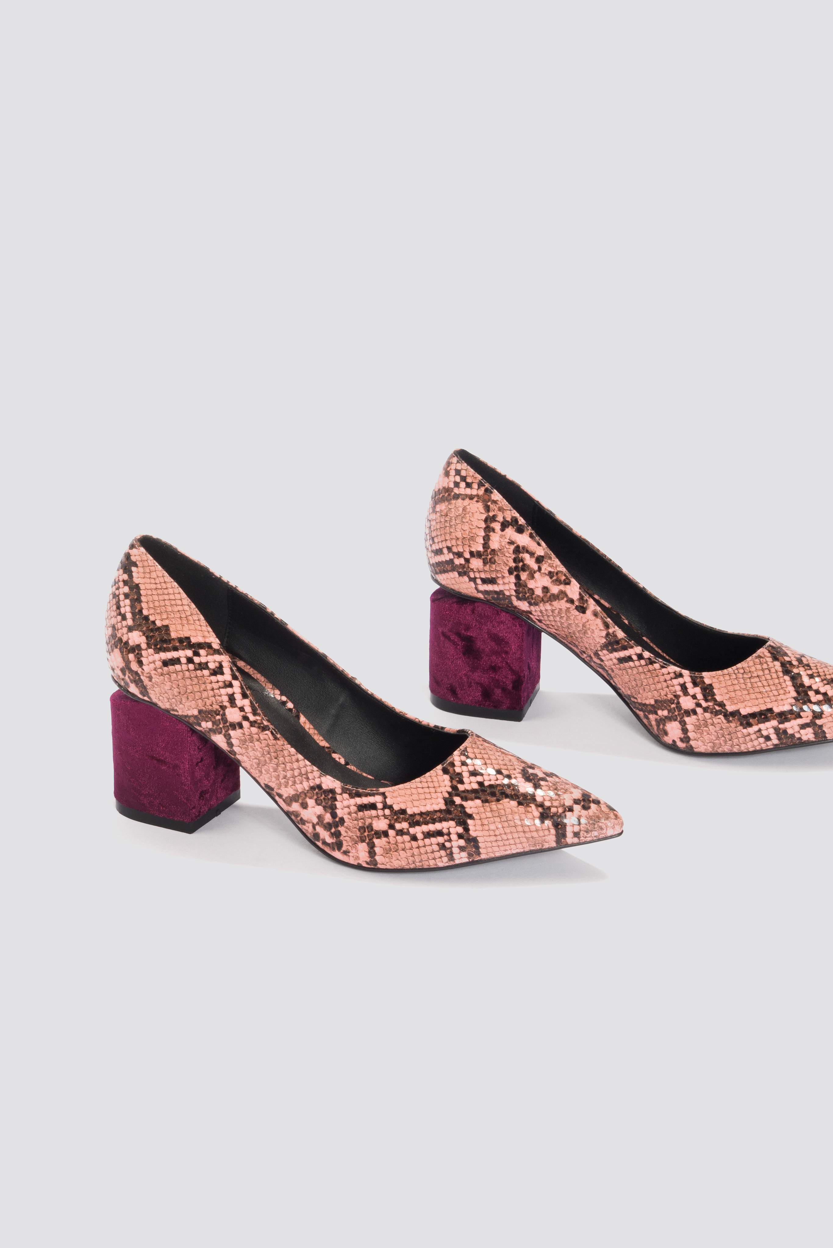 NA-KD Cut Out Heel Snake Pumps - Pink, Purple