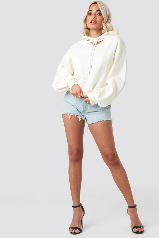 Cut Out Hoodie White
