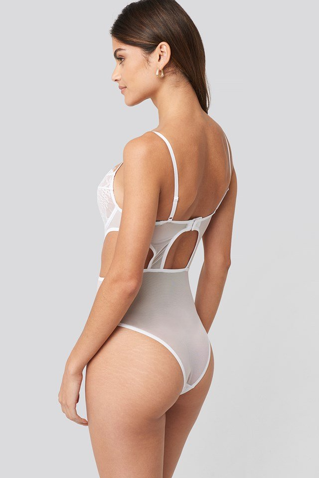 Cut out Lace Bodysuit White