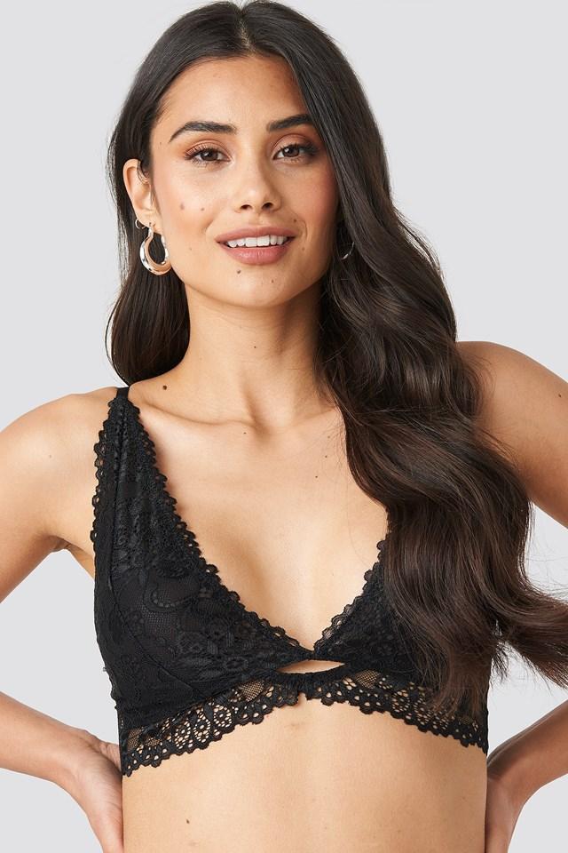 Cut Out Lace Bralette Black