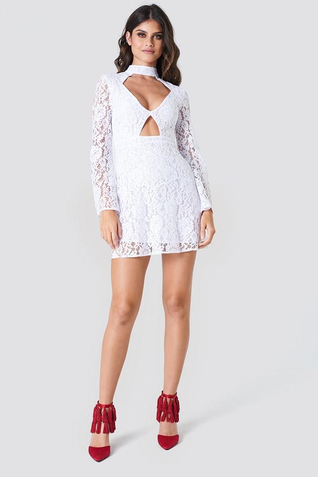 Cut Out Lace Mini Dress NA-KD.COM