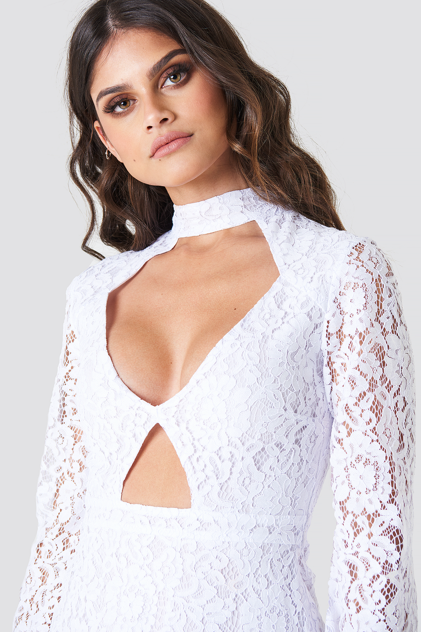 Cut Out Lace Mini Dress NA-KD.COM