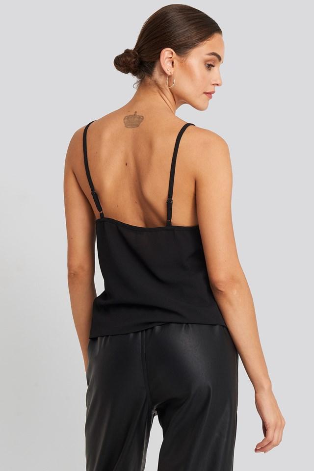 Cut Out Lace Singlet Black