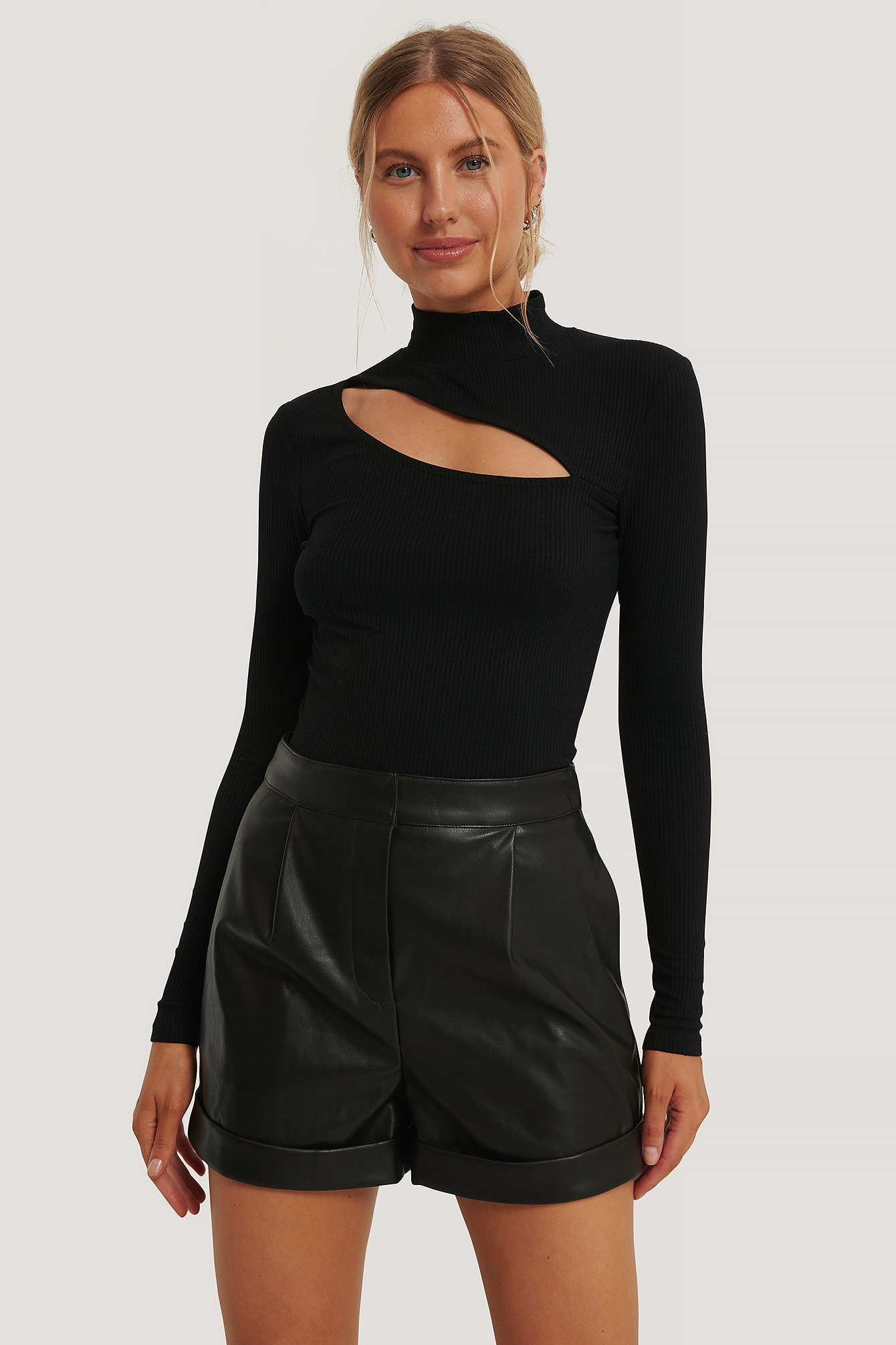 Black Ribtop Med Cut Outs