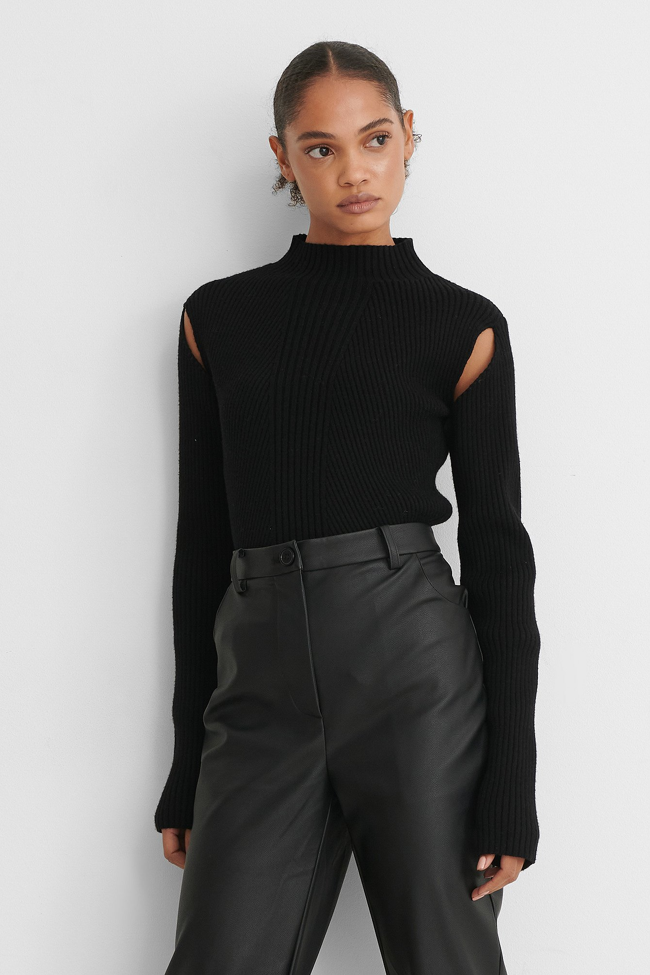 Black Cut Out Ribbed Knitted High Neck Sweater