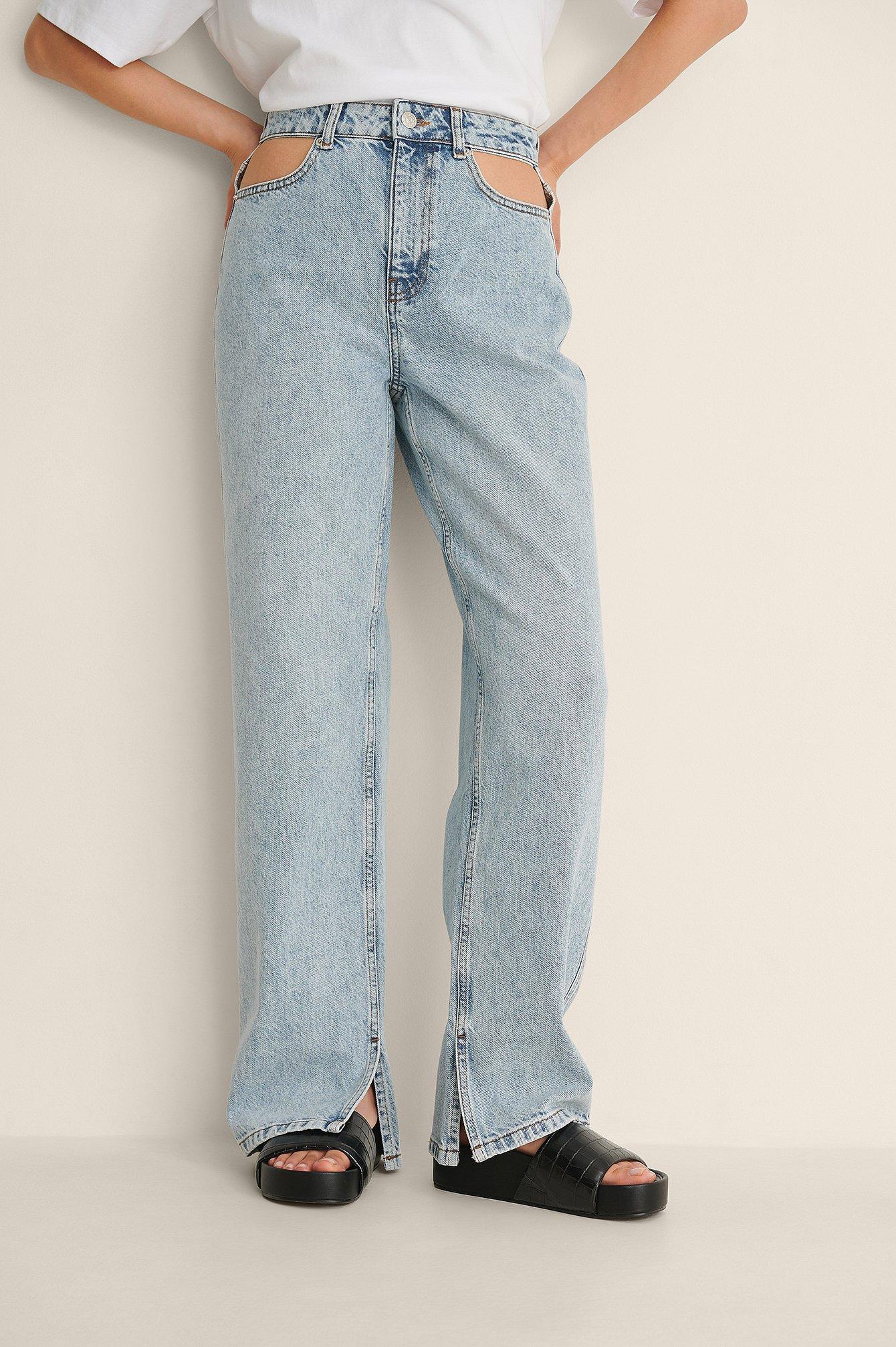 NA-KD Trend Jeans Med Sideslids Og Udskæring - Blue